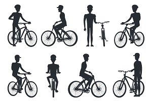 Black Silhouettes of Bicyclist Riding on Bike