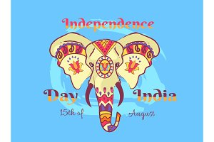 Independence Day of India Poster with Elephant