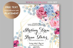 Peony wedding invite www.vector.sale