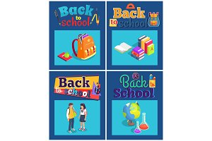 Back to School Set of Posters with Various Objects
