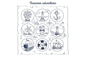 Summer Adventure Map Depicting Multiple Icons