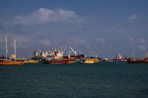 Panorama of Djibouti port , ships and cargo crane