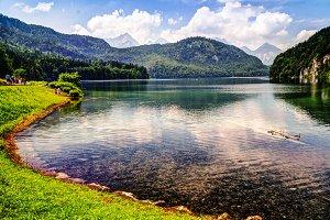 Surface view of Alpsee lake, Bayern Germany