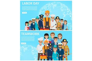 Labor Day and Teamwork Promotion Illustration
