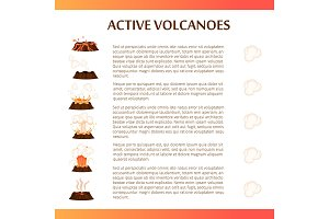 Active Volcanoes Flat Vector Banner