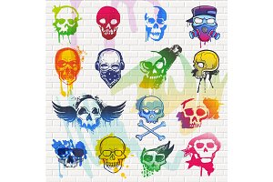 Skull vector mexican dead head and crossbones and human tattoo illustration thick-skulled set of horror symbol of death or evil in Mexico and graffiti isolated on brick wall background