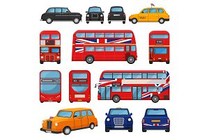 London car vector british cab taxi and uk red bus for transporting in england illustration set of tourism transportation in united kingdom by vehicle or english automobile isolated on white background