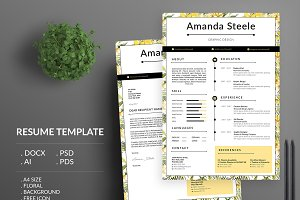 Yellow Floral Resume Template / N