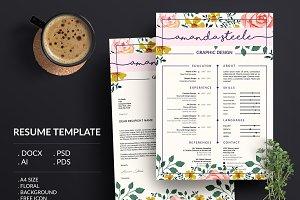 Floral Resume Template/CV template N