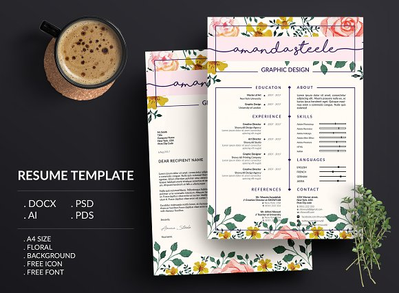 Floral Resume Template CV N Creative Daddy