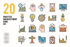 Analytics and investment icons set