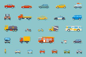 Car Transport Icons Set
