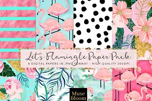 Let's Flamingo Digital Paper Pack