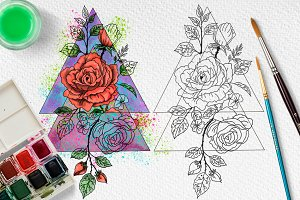 Watercolor neon rose. Geometry.