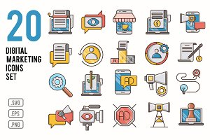 Digital marketing icons set