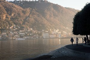 Fabulous colorfull sunset on the lake of como italy, Lago di Como