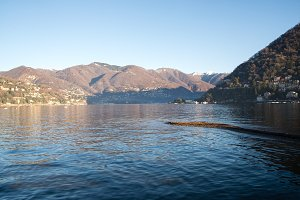 View above big beautiful lake, Como lake, Italy.