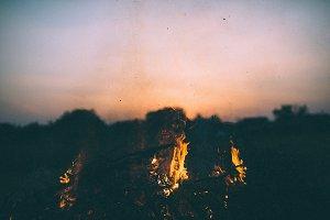 Fire burning at dusk