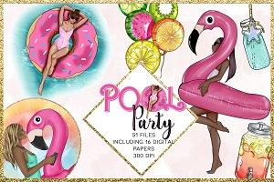 Pool Party Clip arts set 51 files