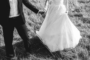 Wedding couple is walking