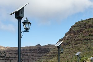 Streetlights with solar power
