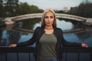 Beautiful blonde girl portrait