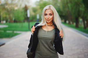 Beautiful blonde girl portrait