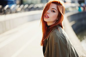 Beautiful red haired girl portrait