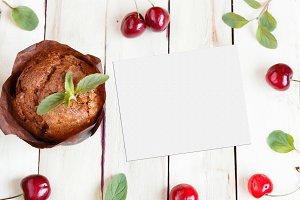 Chocolate cupcake, cherry and mint.