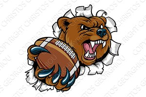Bear and American Football Ball Tearing Background