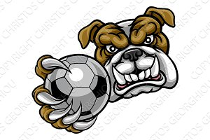 Bulldog Holding Soccer Ball Football Mascot