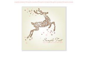 Christmas deer, reindeer, snowflakes