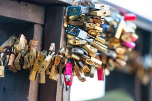 Many love locks on the bridge