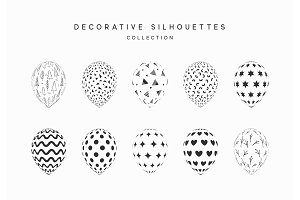 Set of white and black silhouette balloons isolated on white background