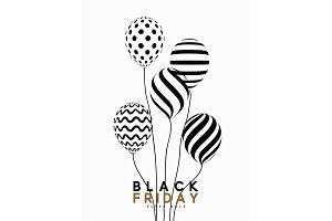 Black Friday, design sale banner, poster advert. Background white, pattern air balloon.