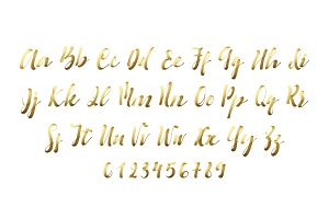 Latin alphabet golen. Letter font style ribbon