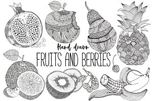 Fruits and berries - hand drawn set