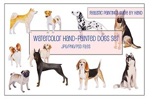 Watercolor Hand-Painted Dogs