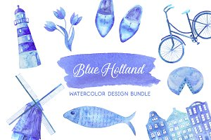 Blue Holland. Watercolor set.