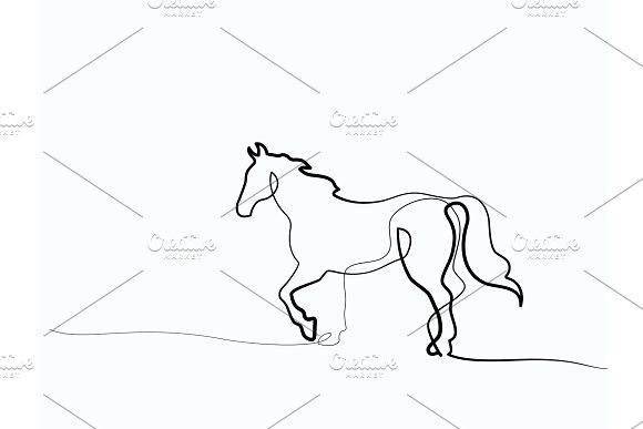 Continuous one line drawing. Horse logo