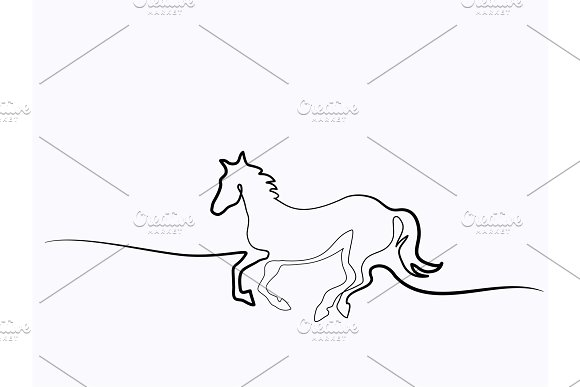 Continuous one line drawing. Horse logo in Illustrations