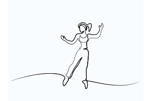 Happy jumping woman on white background.