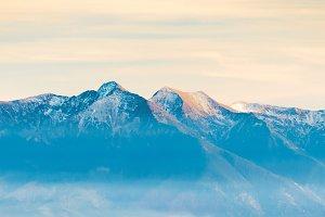 Panorama of high mountain range