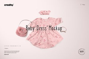 Baby Dress 6 & Headband Mockup Set