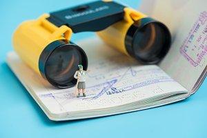 miniature women traveler