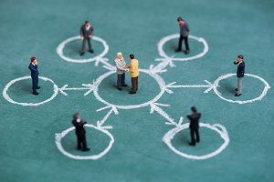 business miniature in circle chalk