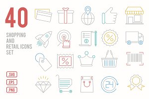 Shopping and retail icons set