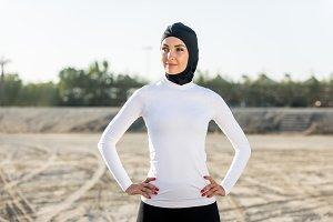 Arabian woman training outdoors