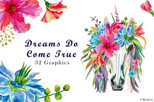 Floral Unicorn Clipart / Graphics