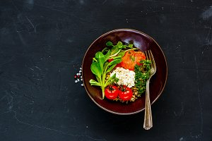 Rainbow power buddha bowl
